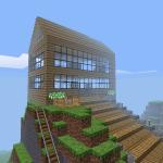 Ein bescheidenes Heim auf einem Berg mit großer Treppe